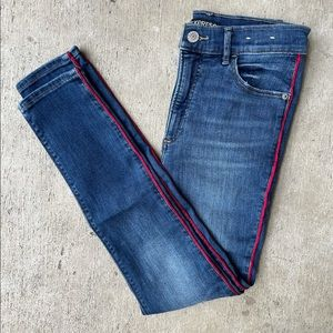 Express High-Rise Red Stripe Jeggings